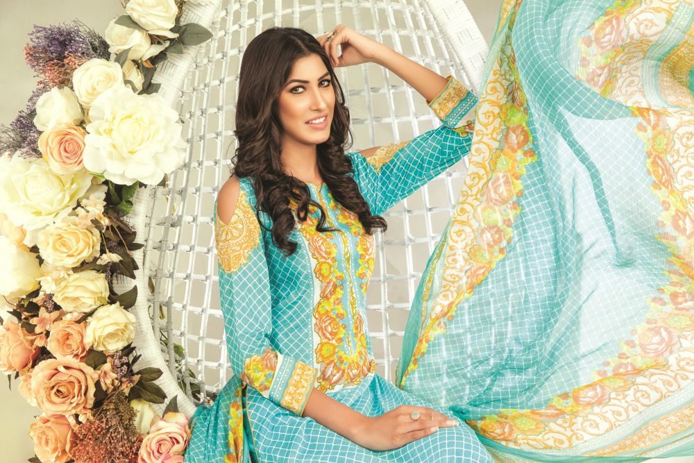 Sana & Samia Lawn Embroidered Collection 2018 Vol1 By Lala