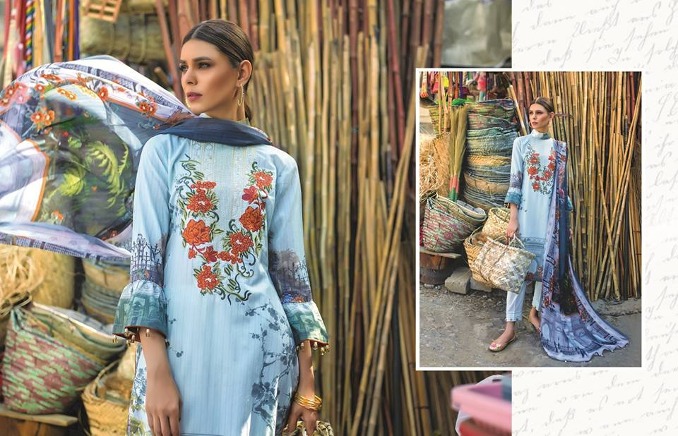 Floral Vintage Digital Embroidered Lawn By ZS Textile 2018